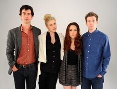Tribeca Film Festival 2012 Portrait Studio - Day 7  In This Photo: Hamish Linklater , Daryl Wein , Zoe Lister Jones , Greta Gerwig  (L-R) Actor Hamish Linklater, actress Greta Gerwig, writer/actress Zoe Lister Jones and writer/director Daryl Wein of the film 'Lola Versus' visit the Tribeca Film Festival 2012 portrait studio at the Cadillac Tribeca Press Lounge on April 25, 2012 in New York City.  (April 24, 2012 - Source: Andrew H. Walker/Getty Images North America)
