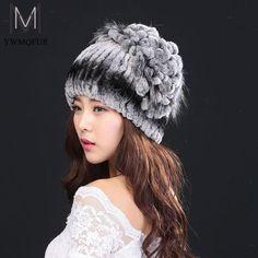 Women winter fur hat fashion natural rex rabbit with fox fur hats hot 2016 new Russian female quality warm caps