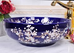 japanese decorated sink basin