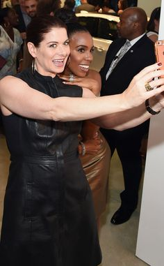 Debra Messing & Kelly Rowland from The Big Picture: Today's Hot Pics  Selfie time! The pair gets ready for their closeup at the grand opening of Cadillac House in NYC.