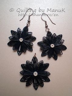 quilled earrings | Quilled Jewelry – Flower Pendant and Earrings