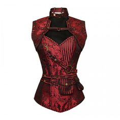 ND-017 - Red Brocade Pattern Steampunk Corset with Matching Jacket http://www.corset-story.com/nd-017-red-brocade-pattern-steampunk-corset-with-matching-jacket.html
