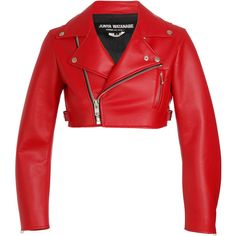 JUNYA WATANABE Cropped faux leather biker jacket ($470) ❤ liked on Polyvore featuring outerwear, jackets, tops, red, leather jacket, zipper pocket jacket, zip pocket jacket, red cropped jacket, cropped jacket and faux-leather jacket