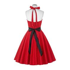 SheIn(sheinside) Red Polka Dot Halter Flare Dress ($19) ❤ liked on Polyvore featuring dresses, red flare dress, red skater dress, halter top, red halter top and vintage dresses