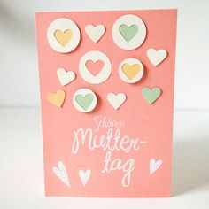 Ideen zum Muttertag: Überrasche deine Mama mit einer herzlichen Karte in Rosa mit kleinen Herzen in Pastellfarben/ Surprise your mom with this lovely card in pink with little hearts in pastel colors made by Herzdinge via DaWanda.com