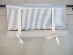 Spa Blue 72 Inch Long Cotton Ticking Swedish Roll Up Shade Stage Coach Blind
