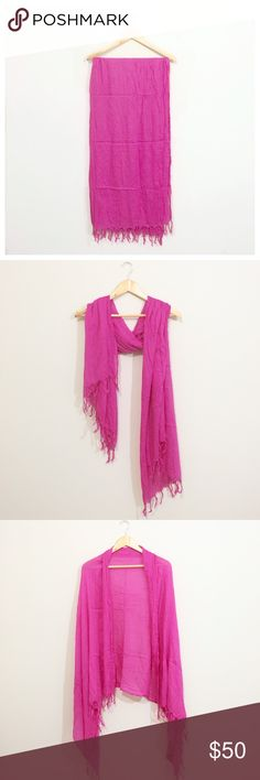 "Fringed Pashmina Scarf in Bright Pink Add some bright, colorful fun to any look and stand out this summer! Lightweight cotton that is super soft and can be worn as a scarf, wrap, or sarong type beach cover up. This wrap is new and has never been worn, but may have some signs of wear from being stored in a drawer with other scarves. Let me know if you have any questions :) thanks for looking!  Approximately 40"" x 70""  ❌ Sorry, no trades. Nordstrom Accessories Scarves & Wraps"