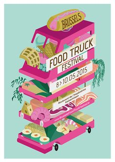 This school project is about create a promoting poster for the next Brussels Food Truck Festival. We have to create a modern and playful poster which shows the food diversity. The Food Truck should no longer be synonymous of Junk Food.