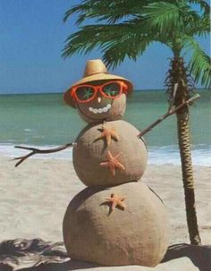 Beach Christmas- Snowman at the beach
