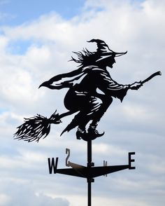 Witch Metal Weathervane Roof Mount Weather Vane Hag by EasyMetal Fall Halloween, Halloween Party, Halloween Decorations, Weather Vain, Laser Cut Steel, Building Signs, Halloween Silhouettes, Plasma Cutting, Witch Art