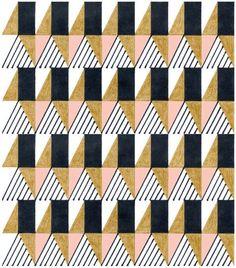 - Triangles, rectangles, lines, pink, gold & black Motifs Textiles, Textile Patterns, Textile Prints, Quilt Patterns, Pattern Texture, Surface Pattern Design, Pattern Art, Black Pattern, Illustration Inspiration