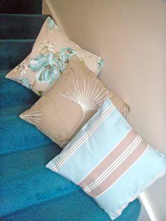 Three cushion covers pillows in blue and beige designs. 18 x 18 inch Cushion Fabric, Cushion Pads, Cushion Covers, Pillow Covers, Beige Cushions, Handmade Cushions, Designer Pillow, Embroidered Flowers, Blue Flowers
