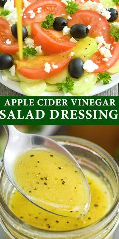 Apple Cider Vinegar Salad Dressing - Homemade salad dressings are so much better than store-bought! This Apple Cider V - de salade minceur Vinegar Salad Dressing, Salad Dressing Recipes, No Calorie Dressing Recipe, Avocado Oil Dressing Recipe, Apple Cider Vinaigrette Dressing Recipe, Healthy Salad Dressings, Homemade Salad Dressings, Dairy Free Dressing Recipes, Vinegrette Salad Dressing
