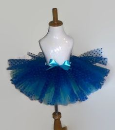 infant to toddler girl blue, turquoise, and Mint 3 layer polka dot tutu perfect for birthdays or speacial occassions