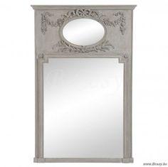 """J-Line Houten spiegel met ovalen bovenstuk en bloemmotief antiek taupe hout 105x160 <span style=""""font-size: 0.01pt;"""">Jline-by-Jolipa-62754</span>"""