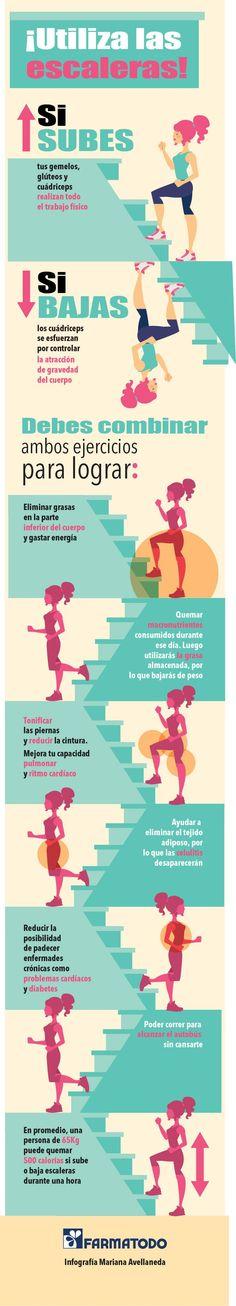 Subir o bajar escaleras se puede convertir en un buen ejercicio. ¡Prácticalo!