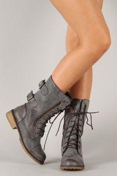 Lug-12 Distressed Leatherette Zipper Military Mid Calf Boot $37.90