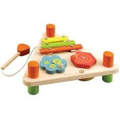 EverEarth - Flip Over Triangle Musical Set: Each side has three musical activities; two spinning wheels with sounds and a xylophone with mallet. The opposite side has a see through drum, washboard with a pick and a spring back touch clacker. #alltotstreasures #EverEarth #flipovermusicalset #woodentoys #music