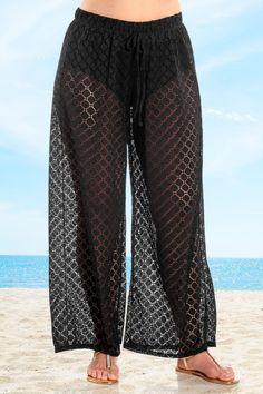 7e905e2df34b Always For Me Lattice Plus Size Beach Pants Black
