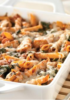 Three-Cheese Chicken Penne Pasta Bake – Hundreds of people can't be wrong. Check out this creamy, cheesy, hearty casserole that sports a solid 5 stars for deliciousness as well as smarts.