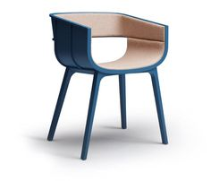 Benjamin Hubert: Steam bent plywood and solid oak chair with textile or leather upholstery
