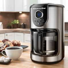 The KitchenAid glass carafe coffee maker helps you brew a great cup of coffee every time. Don't miss a drop thanks to a glass carafe with quick and easy pouring and the pause and serve f Kitchenaid, Coffee Brewer, Coffee Shop, Coffee Cups, Drink Coffee, Single Coffee Maker, Drip Coffee Maker, Target, Camping Coffee