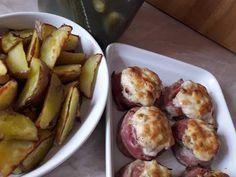 Baconbe tekert töltött gomba recept lépés 6 foto Pretzel Bites, Baked Potato, Potato Salad, Bacon, Potatoes, Bread, Ethnic Recipes, Food, Potato