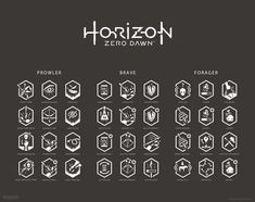 Icons I designed for the exclusive action RPG Horizon Zero Dawn developed by Guerrilla Games.{All images © Guerrilla Games and Sony}… Horizon Zero Dawn, Game Ui Design, Badge Design, Icon Design, Game Gui, Game Icon, Custom Screens, Game Interface, Simple Icon