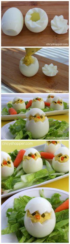 EASTER CHICKS DEVILED EGGS