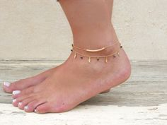 Leaf Charms And Beads Anklet Gold Leaf Anklet by annikabella