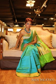 Kota Silk Saree in sea blue-green colour. Statement necklace. Indian fashion.