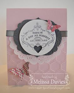 RubberFUNatics--love everything about this card...the color combo, the embossing folder, doily, butterflys. Uses all Stampin Up products, many from the 2013 Spring catalog!