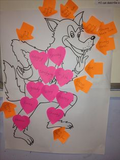 Character Description - my class were confused over adjectives to describe personality and adjectives to describe appearance. We wrote appearance adjectives on arrows and personality adjectives on hearts. Then we used these words when writing wanted posters for the wolf from The Three Little Pigs.