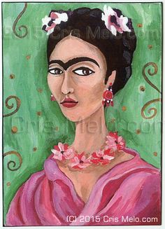 PRINT Frida Kahlo Pink Flowers Dress Green Gold by MeloEarth