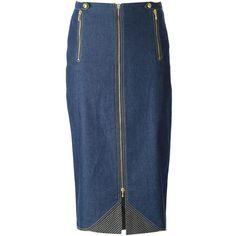 Christian Dior Vintage Midi Denim Skirt (940 CAD) ❤ liked on Polyvore featuring skirts, blue, mid calf skirt, blue midi skirt, christian dior, high waisted midi skirt and midi skirt
