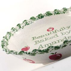 Apple Pie Dish  Personalized Pie Plate  Ceramic Apple by ThePigPen, $45.00