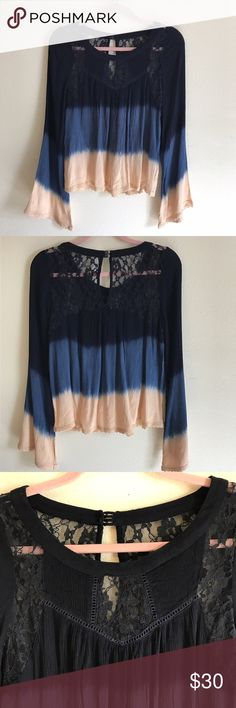 Navy to Pink Ombré Shirt This is a beautiful top with lace and the ombre from navy to pink. I bought it at buckle and it's never been worn because it's too small on me Buckle Tops Blouses