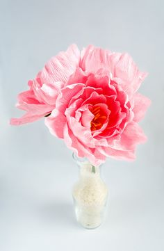 Paper peonies with or without stem Bridal by JJLeatherAndCraft