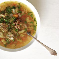 Vegetable Soup with Pesto Turkey Meatballs
