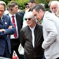 Earl of March Charles Gordon-Lennox chats to Bernie Ecclestone at the Goodwood Festival of Speed
