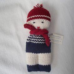 Bambolotto in lana merino rosso e blu
