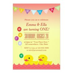 Twins Birthday Party Invitations Cute Rubber Ducks Twin Girls Birthday Party Card