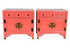 Pink Chinoiserie Nightstands, Pair on OneKingsLane.com