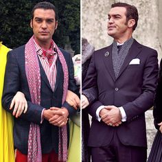 Which look is more ridiculous on Cyrus?  #FashionFriday #TheRoyals  Comment for bright and bold. Like for dark and solemn.