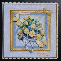 Yellow Roses Butterflies on Craftsuprint designed by June Young -