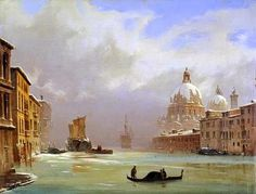 Ippolito Caffi (Belluno, 1809 – Lissa, Neve e nebbia sul Canal Grande Most Beautiful Paintings, Beautiful Artwork, Italy Art, Watercolor Pictures, A4 Poster, Italian Artist, Grand Tour, Vintage Artwork, Illustrations