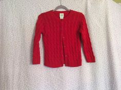 babyGap Red Cable Knit Button Down Cardigan size 3 Years #babyGap #Cardigan