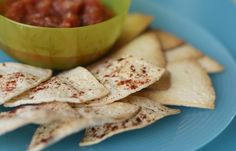 Make a healthy snack alternative with baked tortilla chips #healthy #recipe #snacks