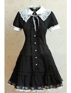 College Style White Collars Black Lolita Dress