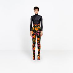 BALENCIAGA DRAPED PANTS | Printed high waisted legging pants, in shiny and stretchable jersey